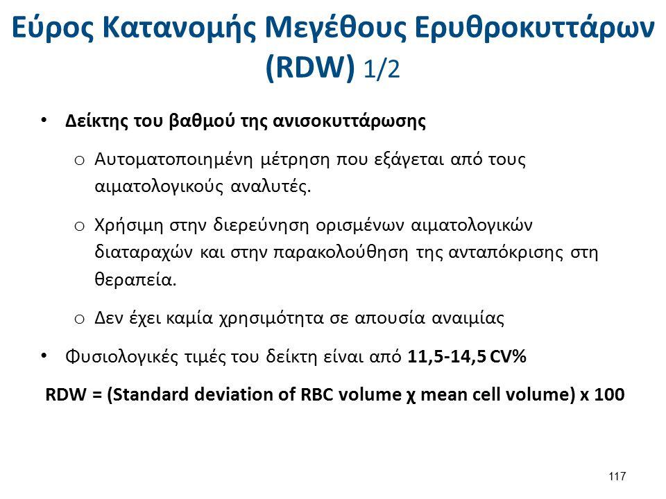Εύρος Kατανομής Mεγέθους Eρυθροκυττάρων (RDW) 2/2