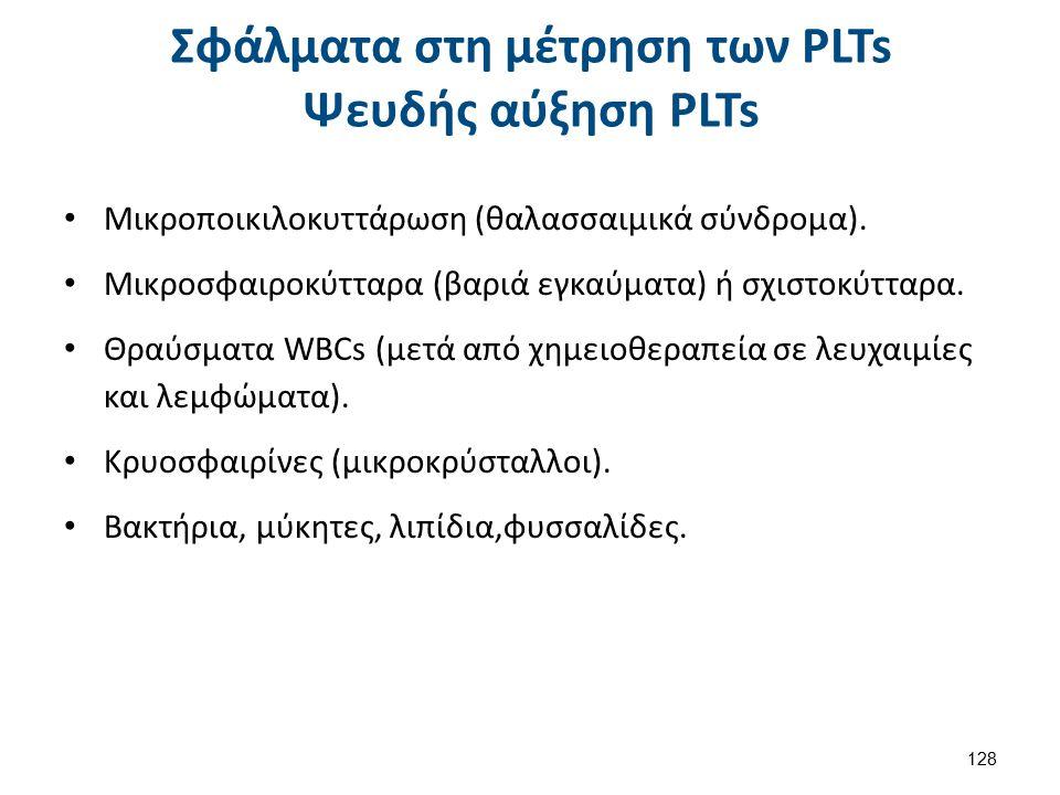 Ψευδή μειωμένα PLTs Πήγμα (αιμοληψία,ανακίνηση,αντιπηκτικό).