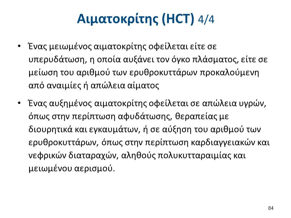 Φυσιολογικές Τιμές HCT