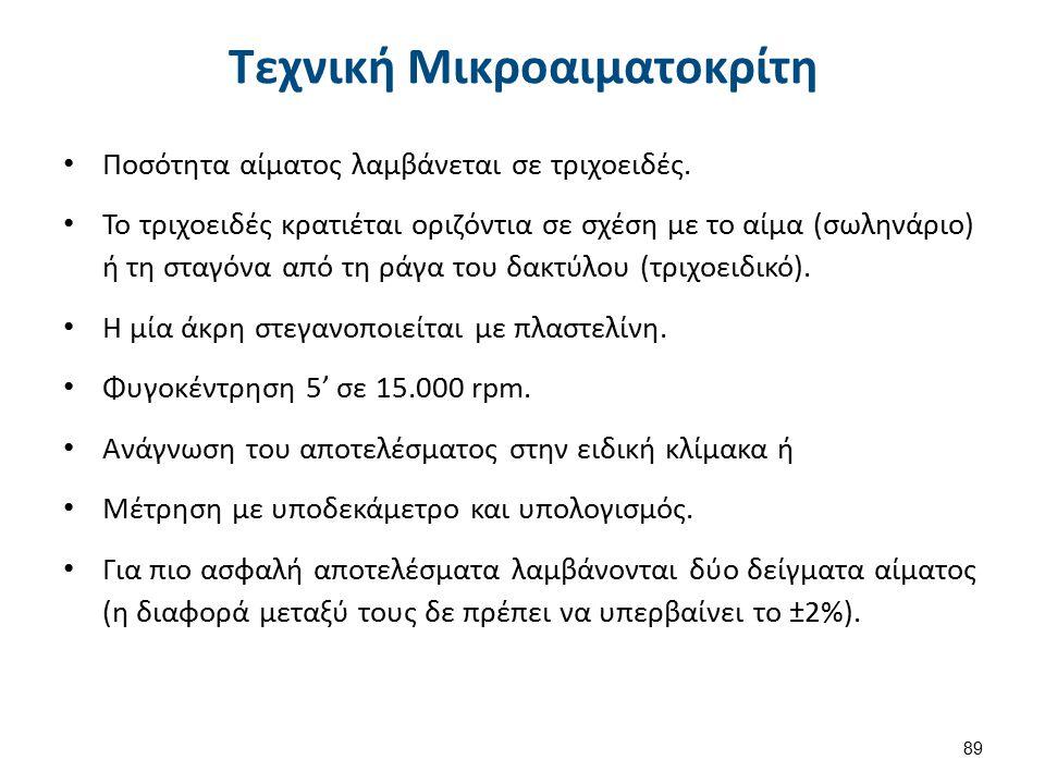 Υπολογισμός HCT Υψος στοιβαδας Ερυθροκυτταρων (cm) Συνολικό ύψος (cm) ×𝟏𝟎𝟎.