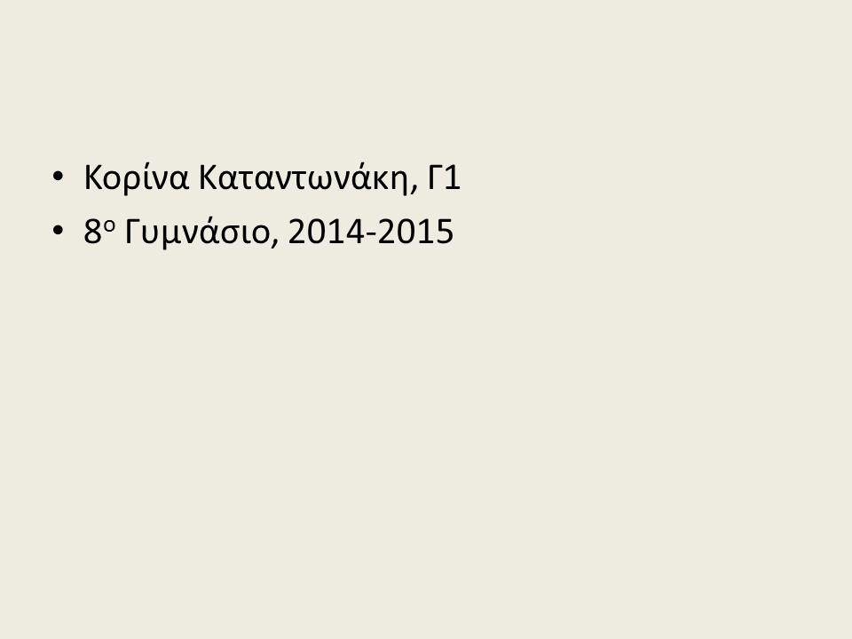 Κορίνα Καταντωνάκη, Γ1 8ο Γυμνάσιο, 2014-2015