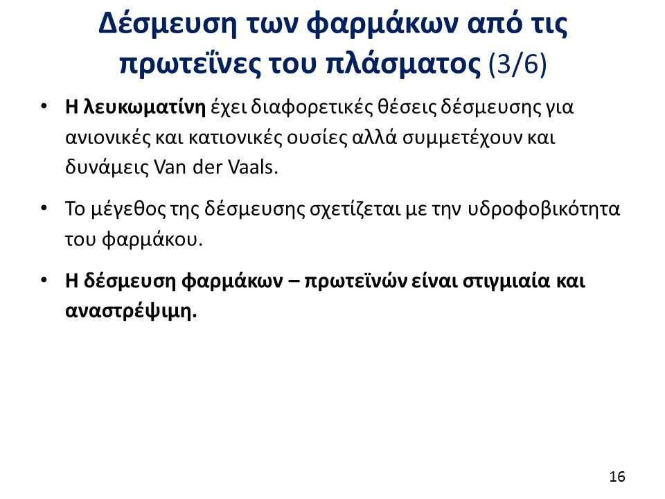 Δέσμευση των φαρμάκων από τις πρωτεΐνες του πλάσματος (4/6)