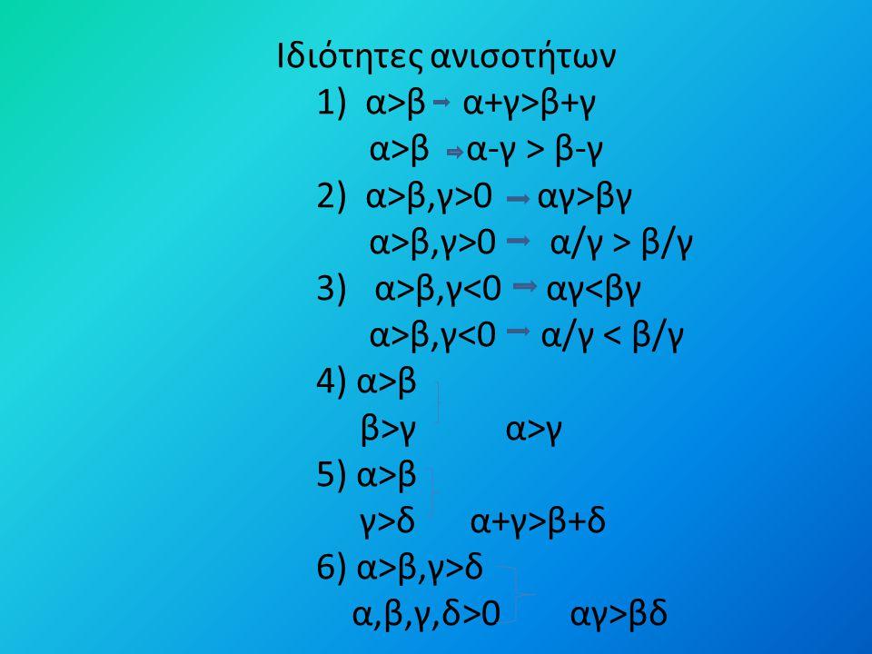 Ιδιότητες ανισοτήτων 1) α>β α+γ>β+γ α>β α-γ > β-γ 2) α>β,γ>0 αγ>βγ α>β,γ>0 α/γ > β/γ 3) α>β,γ<0 αγ<βγ α>β,γ<0 α/γ < β/γ 4) α>β β>γ α>γ 5) α>β γ>δ α+γ>β+δ 6) α>β,γ>δ α,β,γ,δ>0 αγ>βδ