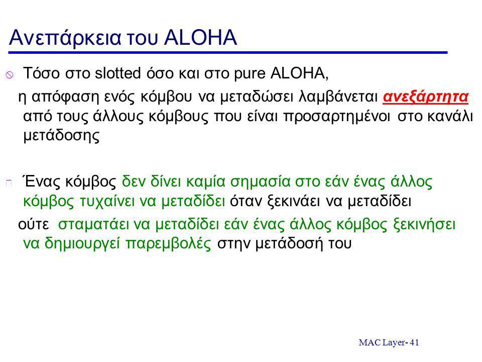 Ανεπάρκεια του ALOHA Τόσο στο slotted όσο και στο pure ALOHA,