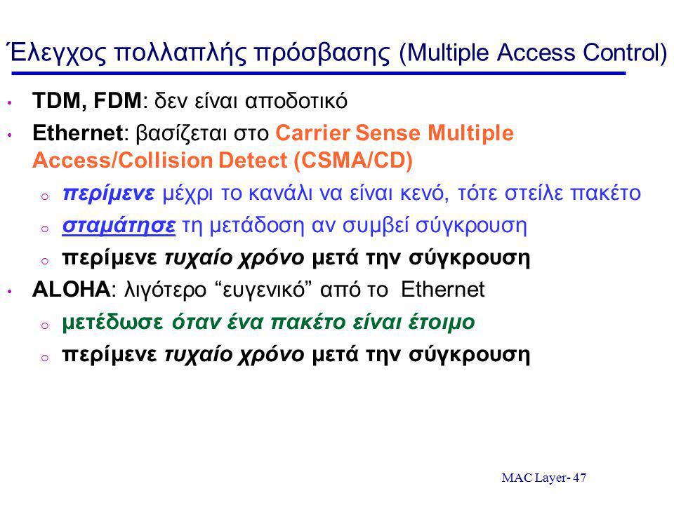 Έλεγχος πολλαπλής πρόσβασης (Multiple Access Control)