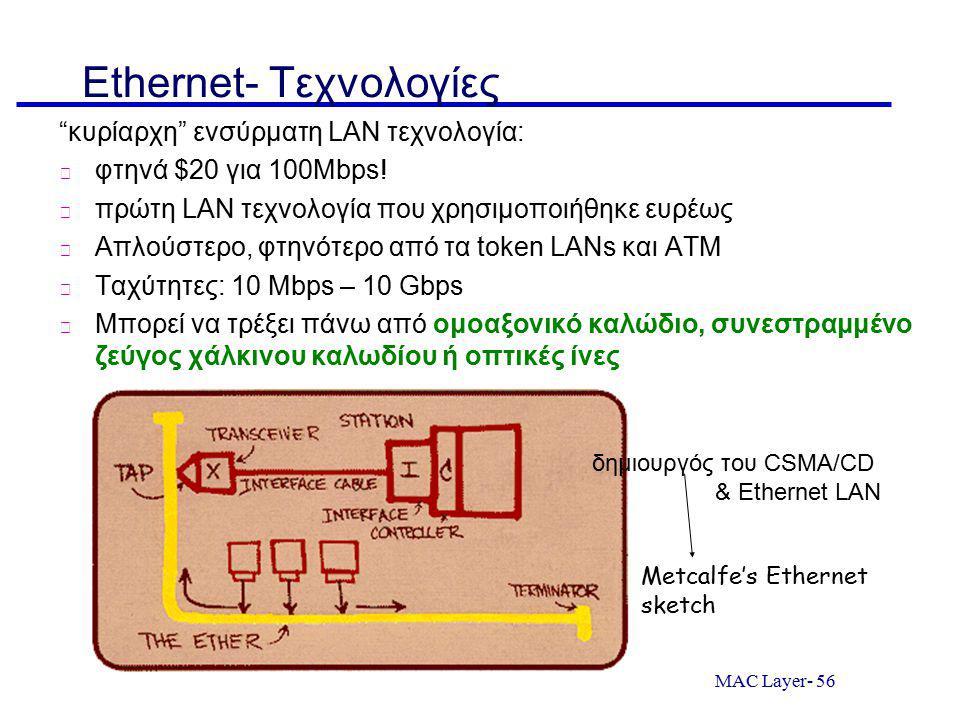 Ethernet- Τεχνολογίες
