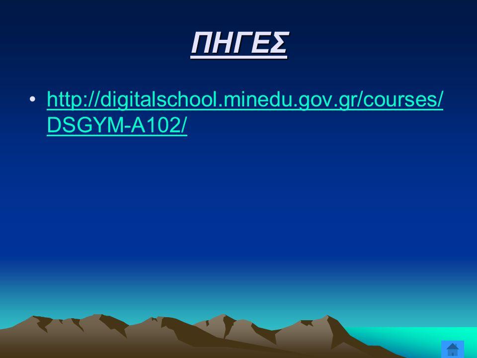 ΠΗΓΕΣ http://digitalschool.minedu.gov.gr/courses/DSGYM-A102/