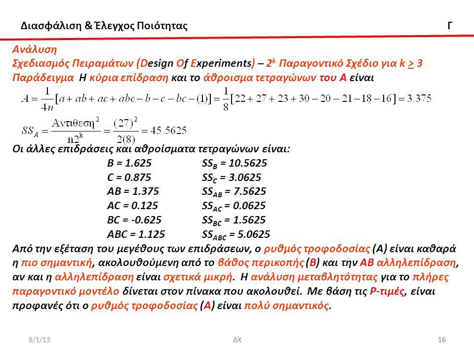 Παράδειγμα Η κύρια επίδραση και το άθροισμα τετραγώνων του Α είναι