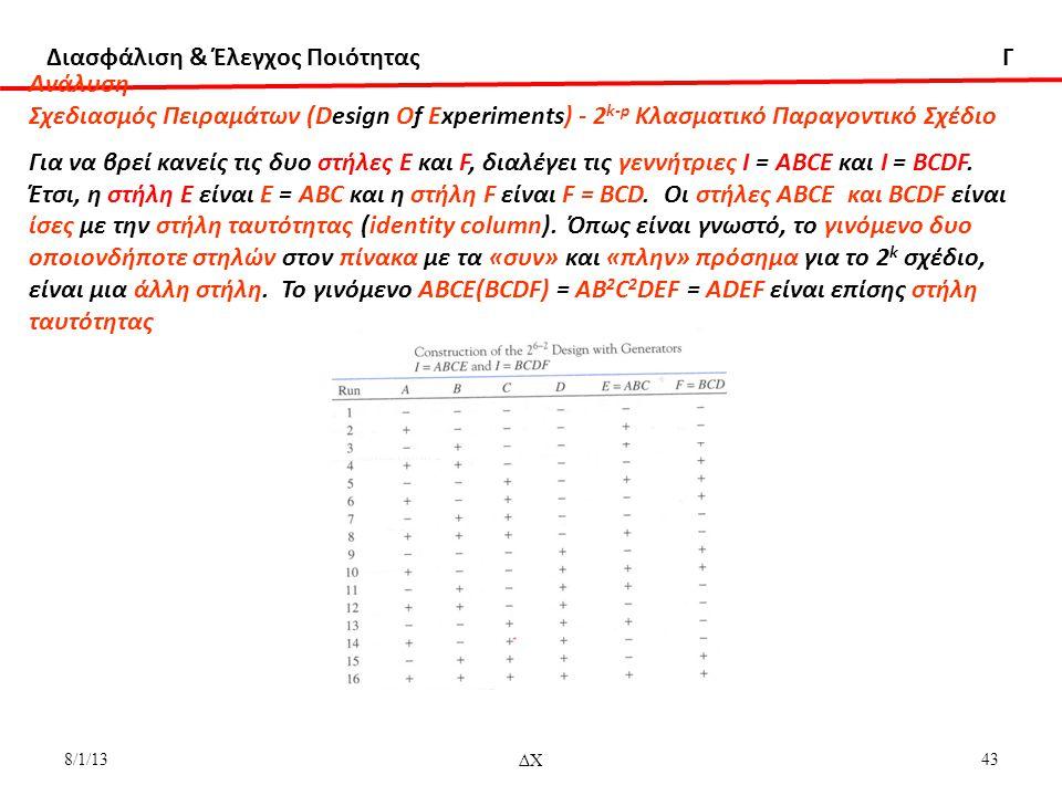 Aνάλυση Σχεδιασμός Πειραμάτων (Design Of Experiments) - 2k-p Κλασματικό Παραγοντικό Σχέδιο.