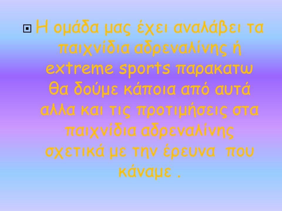 Η ομάδα μας έχει αναλάβει τα παιχνίδια αδρεναλίνης ή extreme sports παρακατω θα δούμε κάποια από αυτά αλλα και τις προτιμήσεις στα παιχνίδια αδρεναλίνης σχετικά με την έρευνα που κάναμε .
