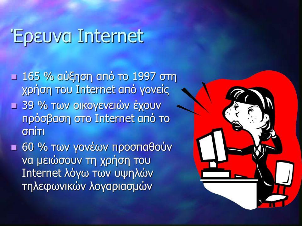 Έρευνα Internet 165 % αύξηση από το 1997 στη χρήση του Internet από γονείς. 39 % των οικογενειών έχουν πρόσβαση στο Internet από το σπίτι.