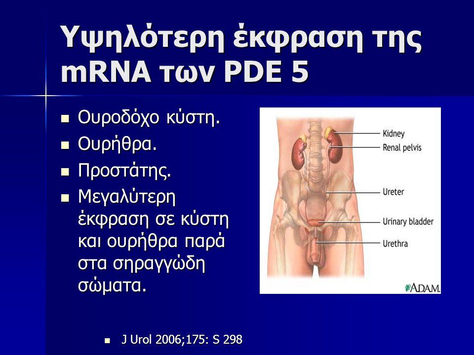 Υψηλότερη έκφραση της mRNA των PDE 5