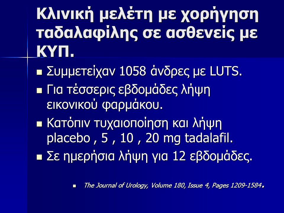 Κλινική μελέτη με χορήγηση ταδαλαφίλης σε ασθενείς με ΚΥΠ.