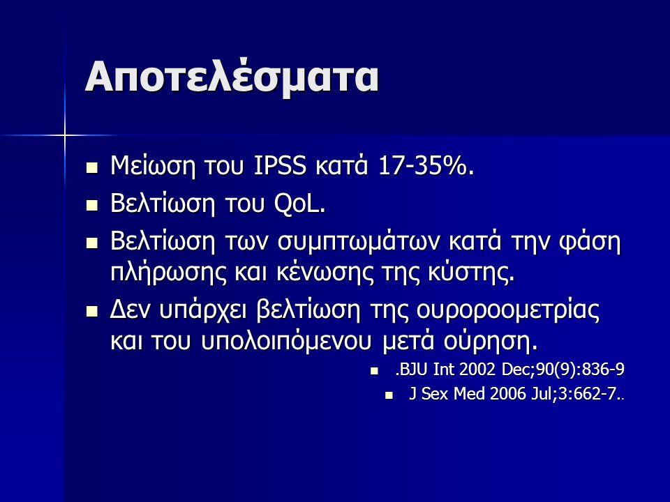 Αποτελέσματα Μείωση του IPSS κατά 17-35%. Βελτίωση του QoL.