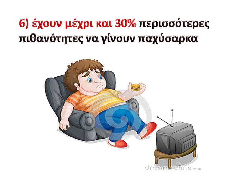 6) έχουν μέχρι και 30% περισσότερες πιθανότητες να γίνουν παχύσαρκα