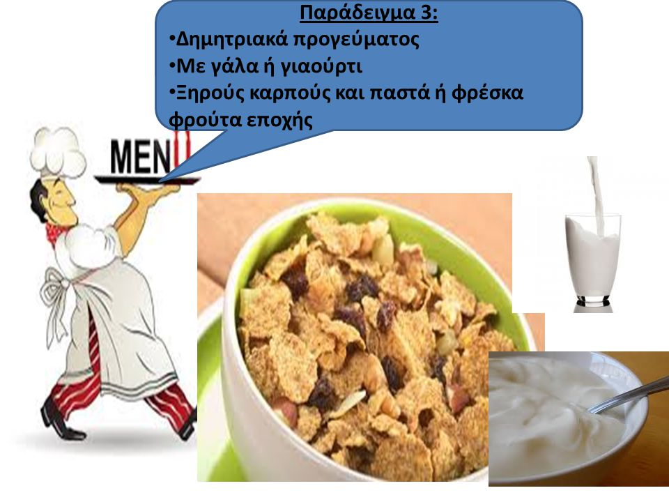 Παράδειγμα 3: Δημητριακά προγεύματος. Με γάλα ή γιαούρτι.