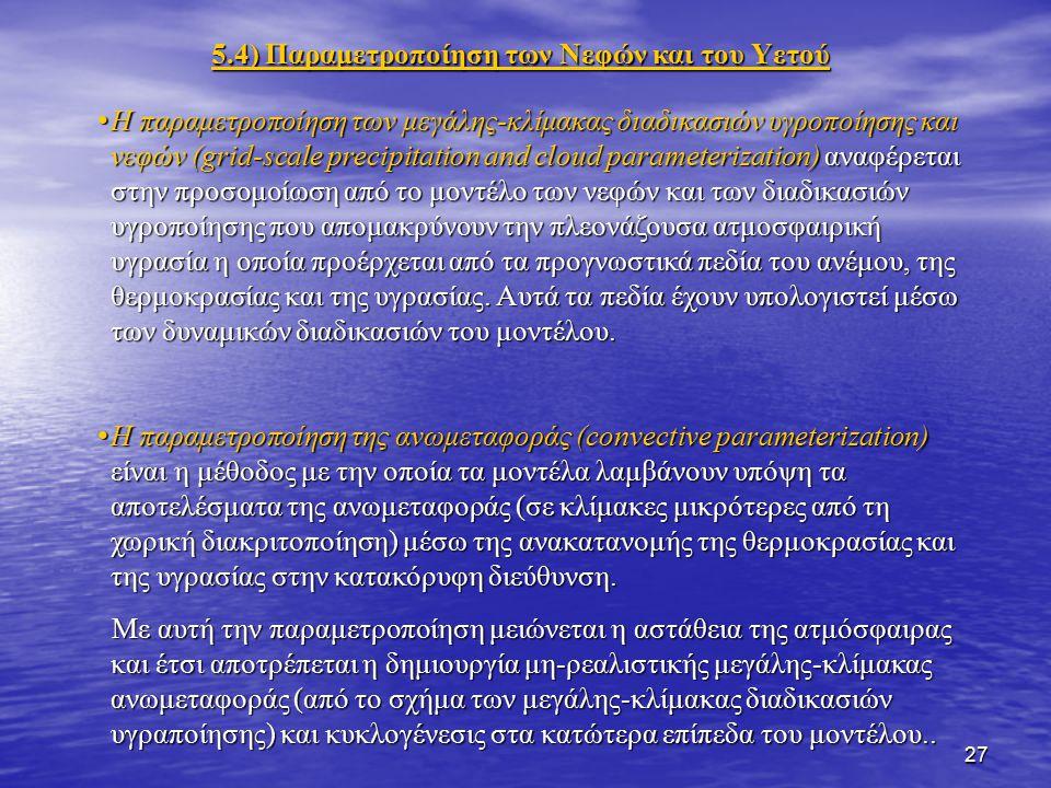 5.4) Παραμετροποίηση των Νεφών και του Υετού