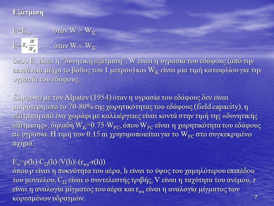 Εξάτμιση E=Eo, όταν W ≥ WK. E= , όταν W < WK.