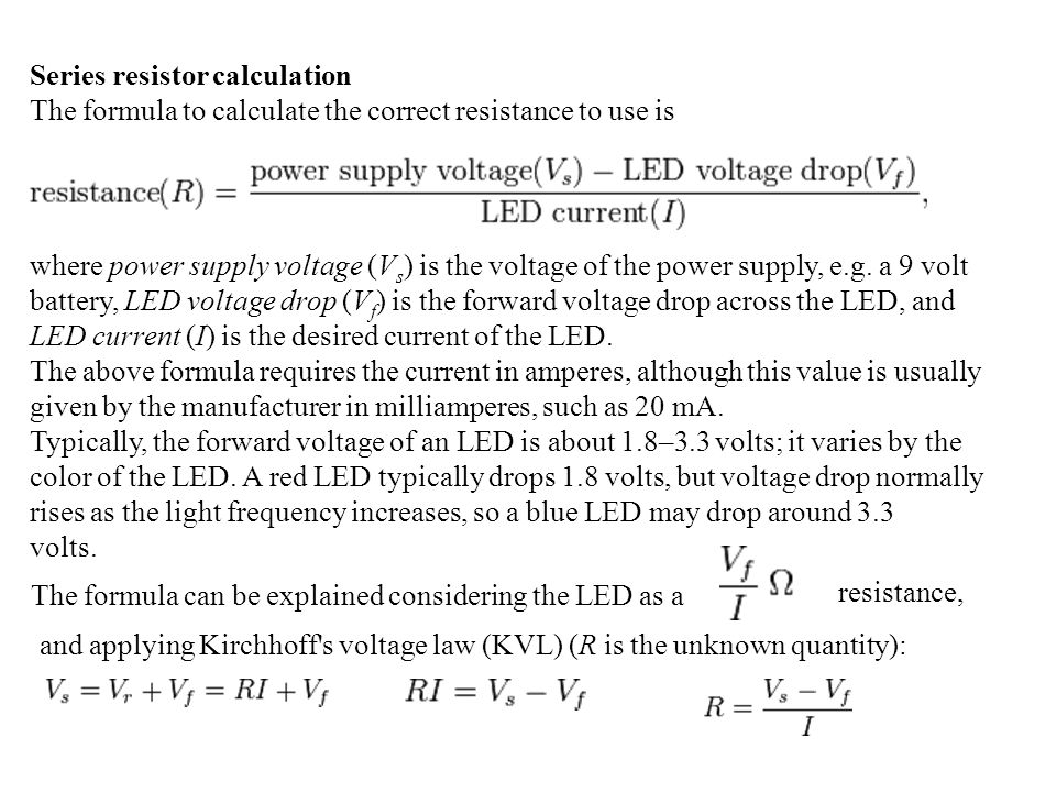 Series resistor calculation
