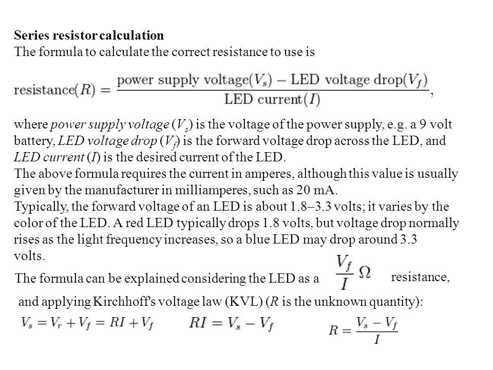 Series resistor calculation