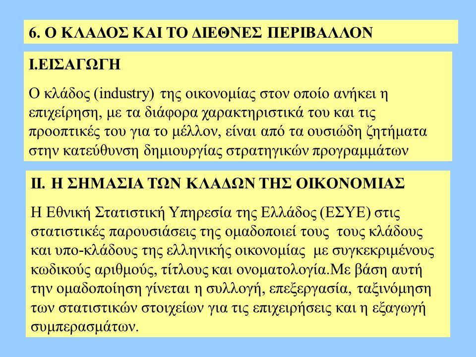 6. Ο ΚΛΑΔΟΣ ΚΑΙ ΤΟ ΔΙΕΘΝΕΣ ΠΕΡΙΒΑΛΛΟΝ