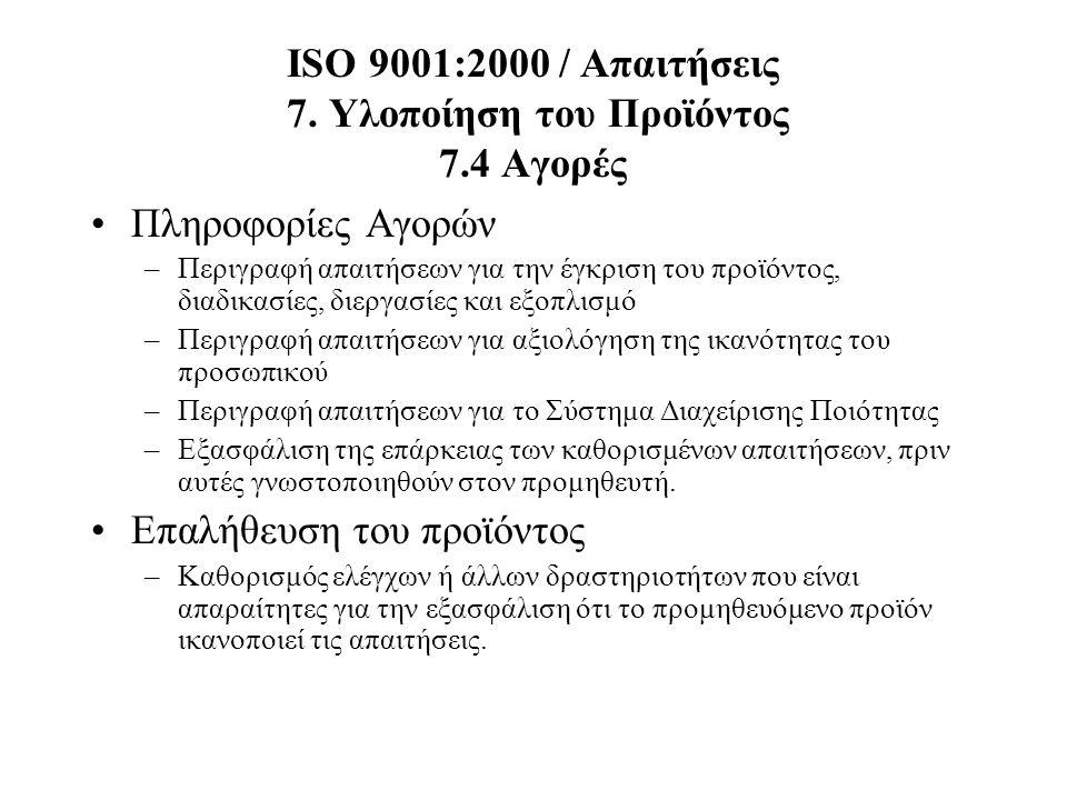 ISO 9001:2000 / Απαιτήσεις 7. Υλοποίηση του Προϊόντος 7.4 Αγορές