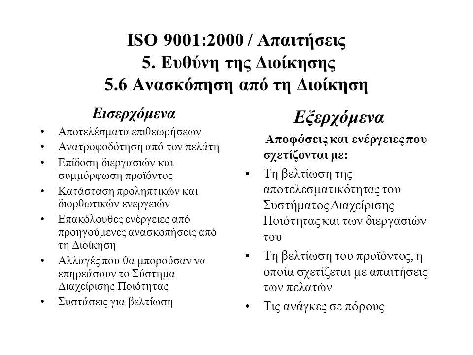 ISO 9001:2000 / Απαιτήσεις 5. Ευθύνη της Διοίκησης 5