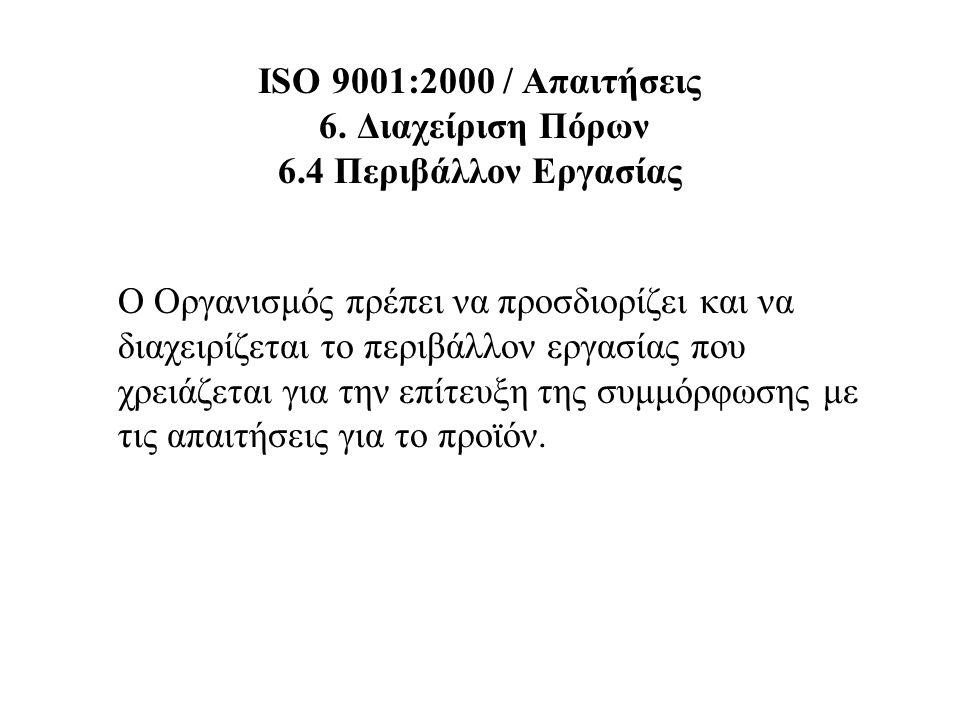 ISO 9001:2000 / Απαιτήσεις 6. Διαχείριση Πόρων 6.4 Περιβάλλον Εργασίας