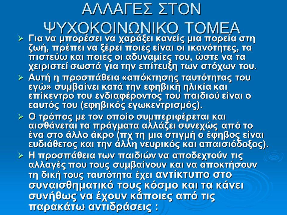 ΑΛΛΑΓΕΣ ΣΤΟΝ ΨΥΧΟΚΟΙΝΩΝΙΚΟ ΤΟΜΕΑ