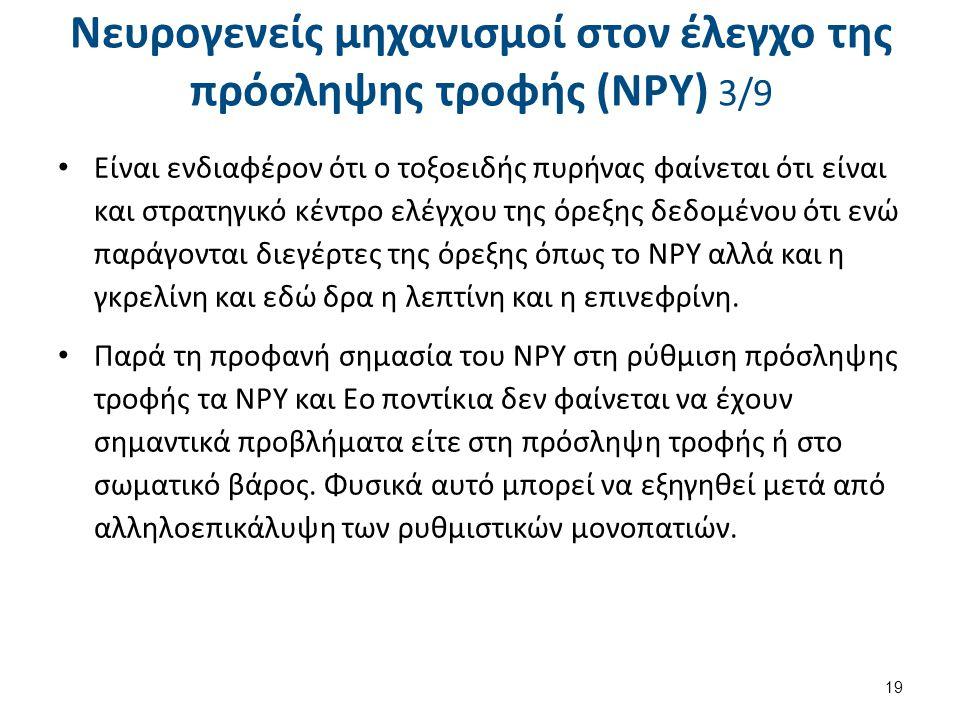 Νευρογενείς μηχανισμοί στον έλεγχο της πρόσληψης τροφής (NPY) 4/9
