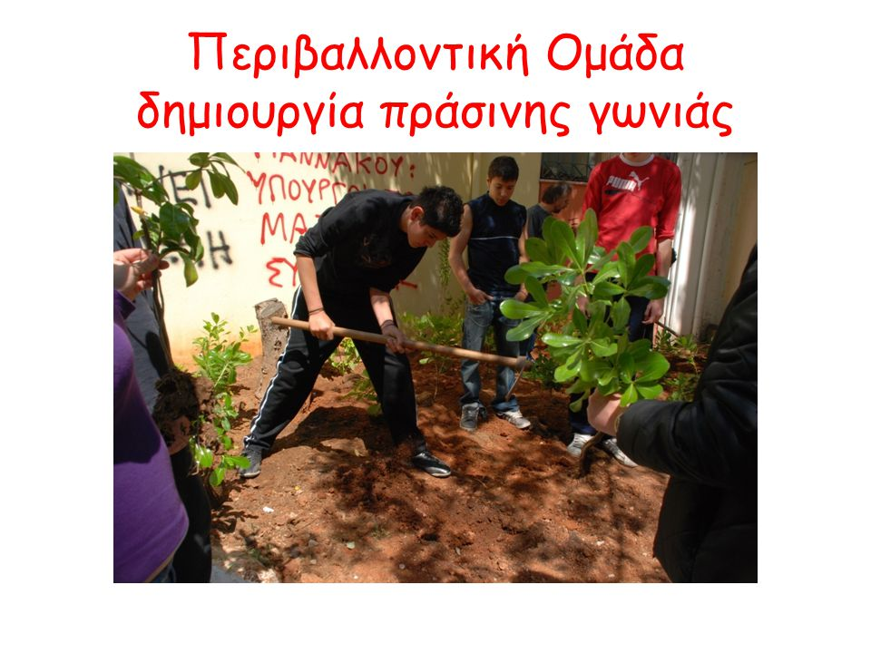 Περιβαλλοντική Ομάδα δημιουργία πράσινης γωνιάς