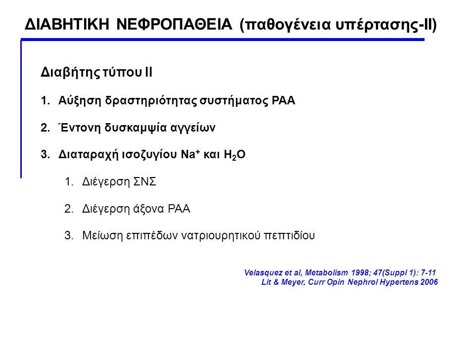 ΔΙΑΒΗΤΙΚΗ ΝΕΦΡΟΠΑΘΕΙΑ (παθογένεια υπέρτασης-ΙΙ)