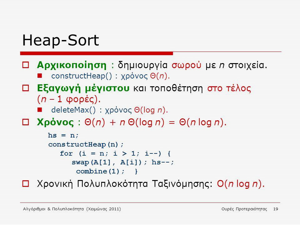 Heap-Sort Αρχικοποίηση : δημιουργία σωρού με n στοιχεία.