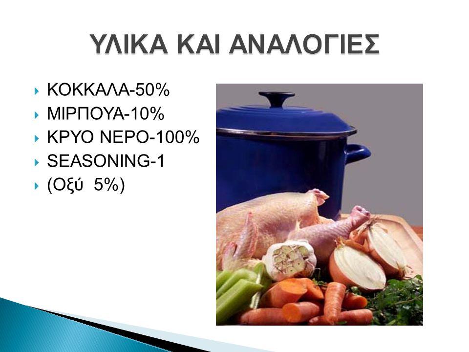 ΥΛΙΚΑ KAI ΑΝΑΛΟΓΙΕΣ ΚΟΚΚΑΛΑ-50% ΜΙΡΠΟΥΑ-10% ΚΡΥΟ ΝΕΡΟ-100% SEASONING-1