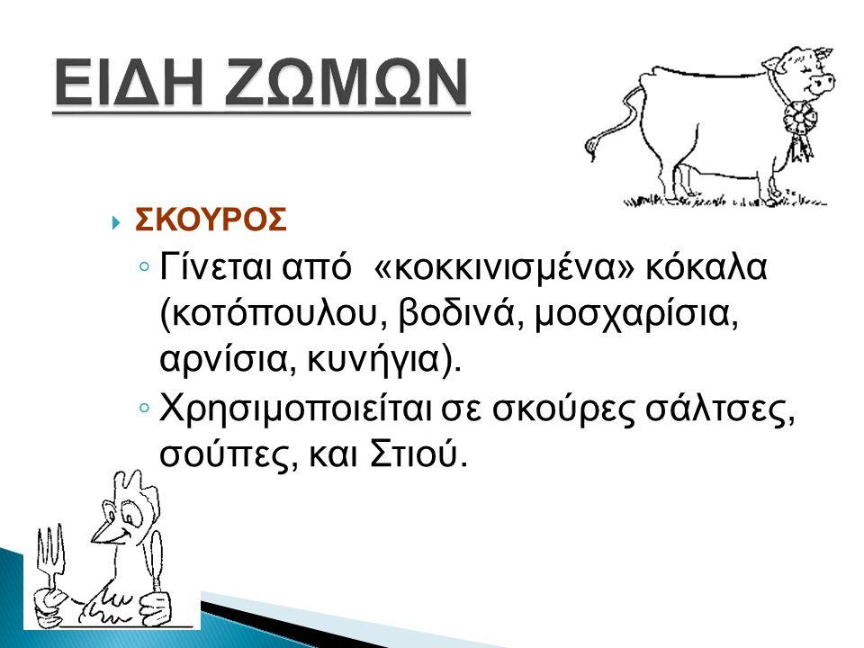 ΕΙΔΗ ΖΩΜΩΝ ΣΚΟΥΡΟΣ. Γίνεται από «κοκκινισμένα» κόκαλα (κοτόπουλου, βοδινά, μοσχαρίσια, αρνίσια, κυνήγια).