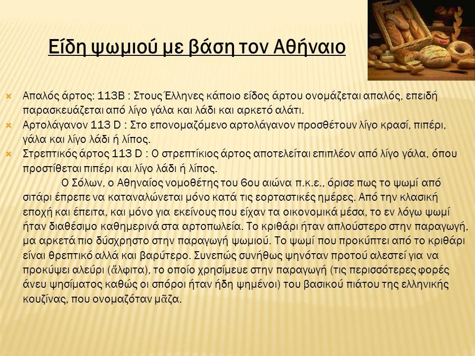 Είδη ψωμιού με βάση τον Αθήναιο