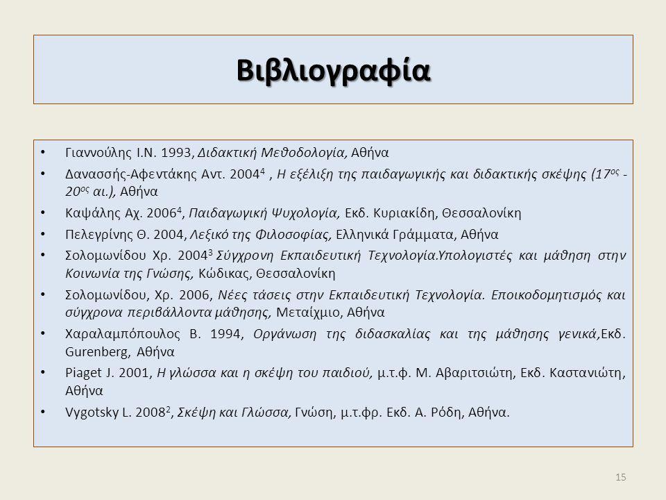 Βιβλιογραφία Γιαννούλης Ι.Ν. 1993, Διδακτική Μεθοδολογία, Αθήνα