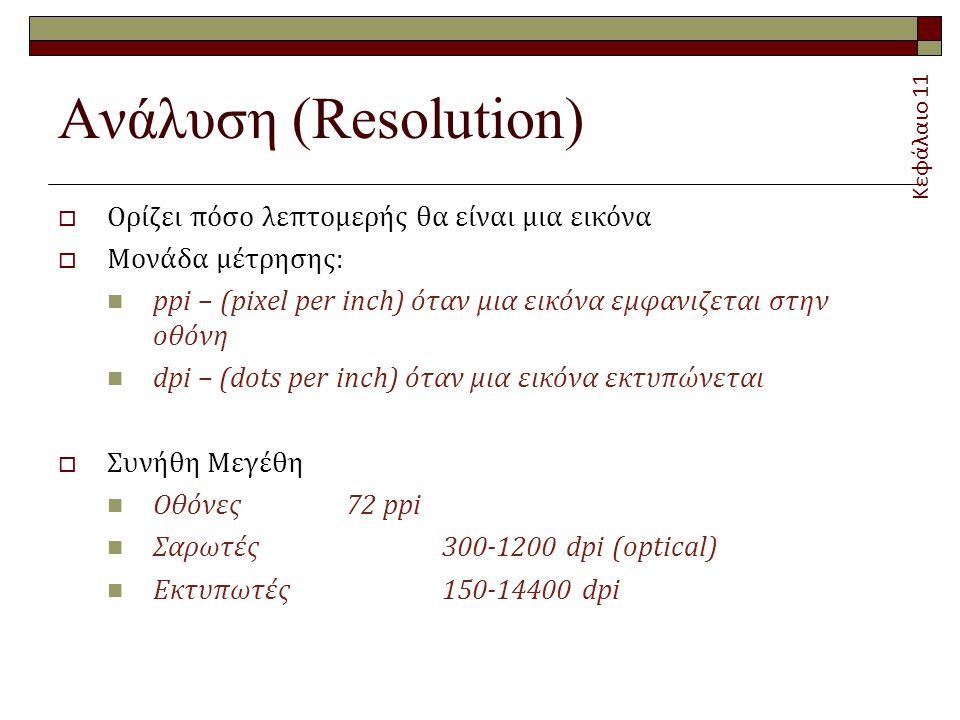 Ανάλυση (Resolution) Ορίζει πόσο λεπτομερής θα είναι μια εικόνα