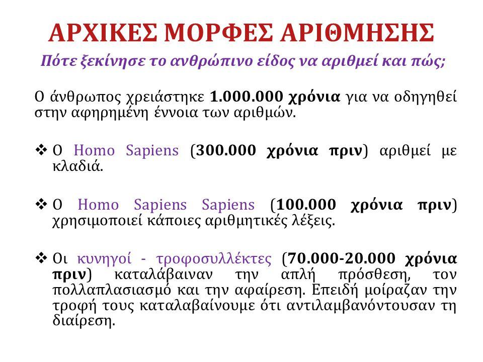 ΑΡΧΙΚΕΣ ΜΟΡΦΕΣ ΑΡΙΘΜΗΣΗΣ