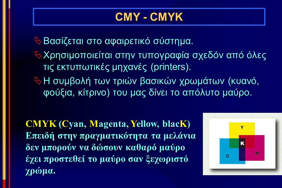 CMY - CMYK Βασίζεται στο αφαιρετικό σύστημα.