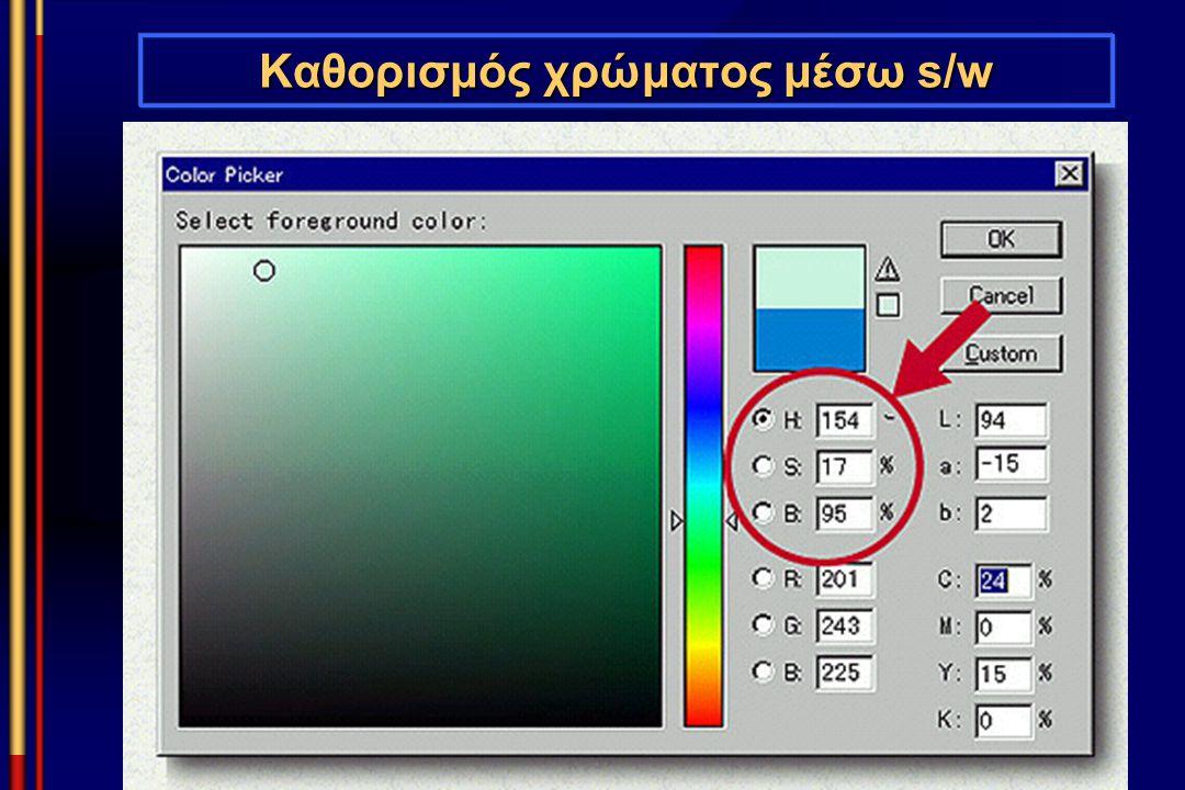 Καθορισμός χρώματος μέσω s/w