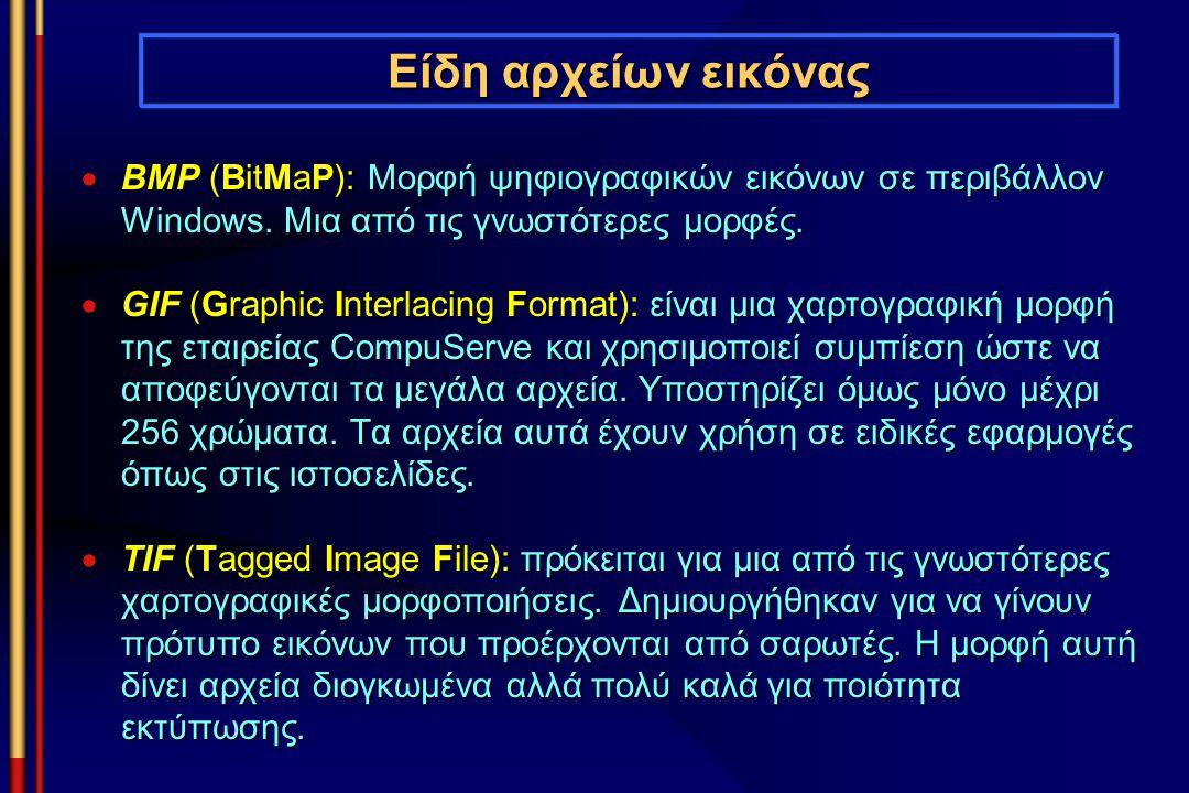 Είδη αρχείων εικόνας BMP (BitMaP): Μορφή ψηφιογραφικών εικόνων σε περιβάλλον Windows. Μια από τις γνωστότερες μορφές.