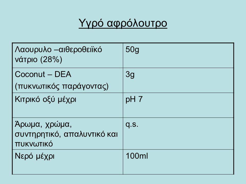 Υγρό αφρόλουτρο Λαουρυλο –αιθεροθειϊκό νάτριο (28%) 50g Coconut – DEA