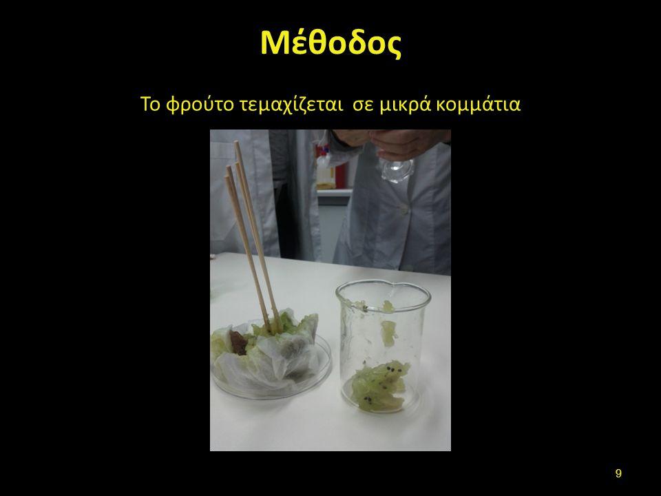 Μέτρηση με κύλινδρο 20 ml buffer απομόνωσης.