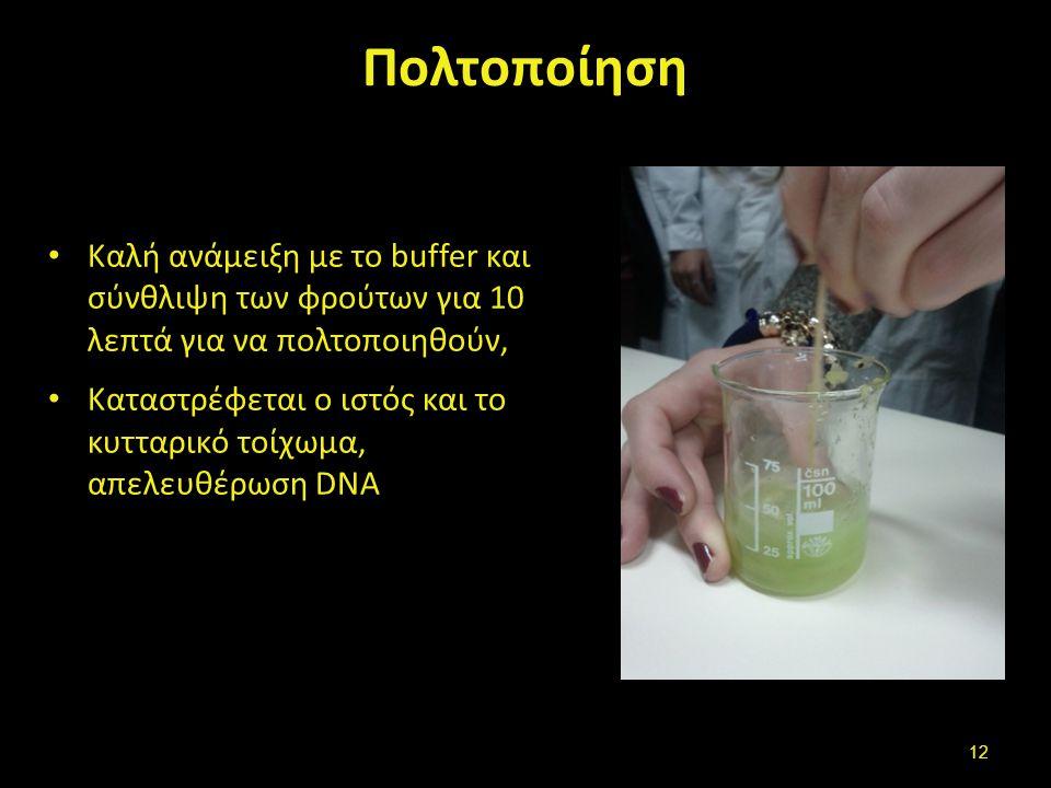 Επώαση Τοποθέτηση σε υδατόλουτρο 60°C για 10- 15΄. Περιοδική ανάδευση