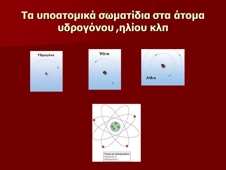 Τα υποατομικά σωματίδια στα άτομα υδρογόνου ,ηλίου κλπ