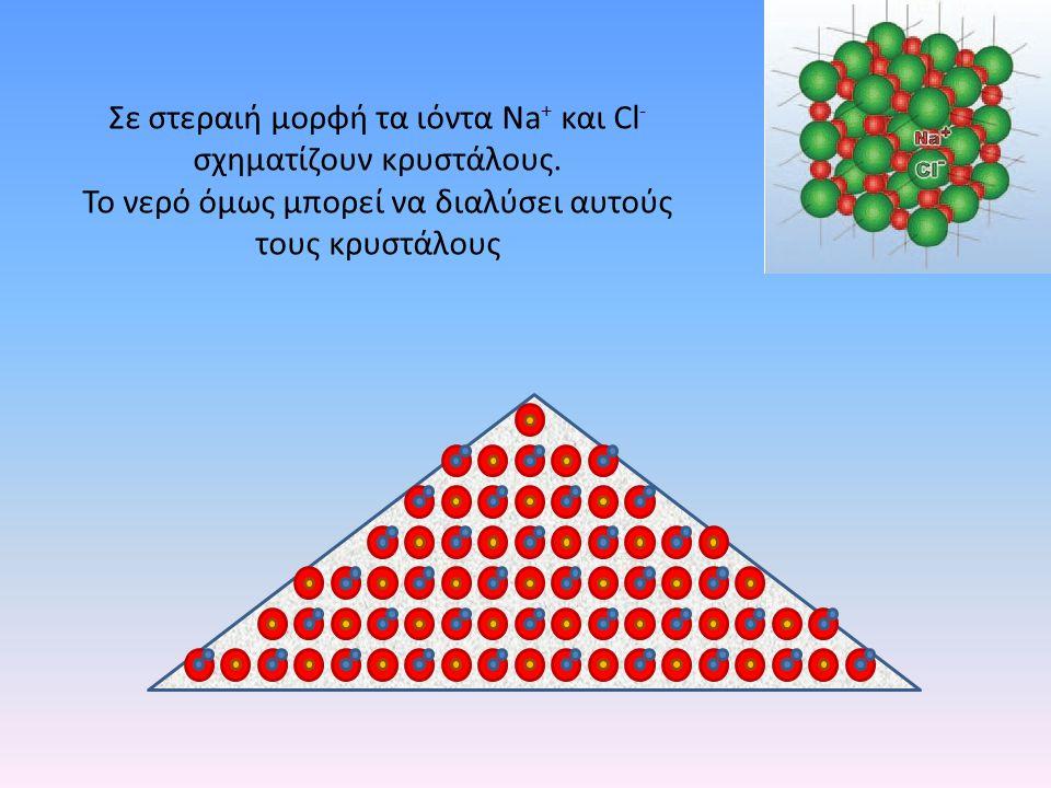 Σε στεραιή μορφή τα ιόντα Νa+ και Cl- σχηματίζουν κρυστάλους.