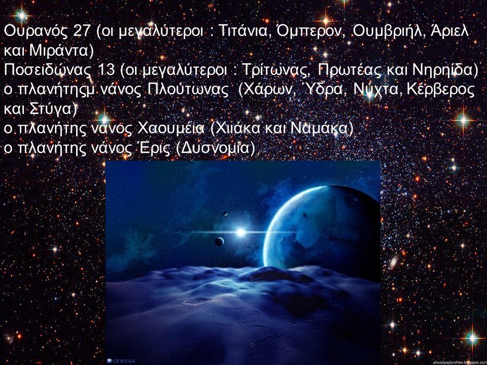Ουρανός 27 (οι μεγαλύτεροι : Τιτάνια, Όμπερον, Ουμβριήλ, Άριελ