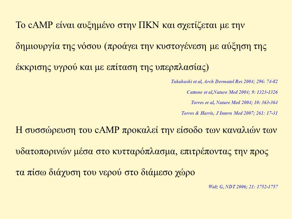 Το cAMP είναι αυξημένο στην ΠΚΝ και σχετίζεται με την δημιουργία της νόσου (προάγει την κυστογένεση με αύξηση της έκκρισης υγρού και με επίταση της υπερπλασίας)