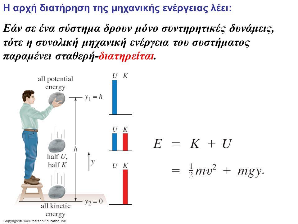Η αρχή διατήρηση της μηχανικής ενέργειας λέει: